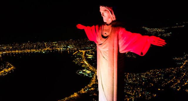 Cristo Redentor en Brasil, la noche del martes 28 de julio.