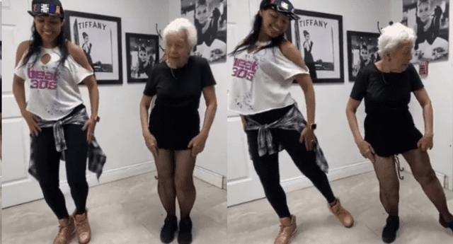 El baile de la adorable abuelita causó furor en las redes sociales.