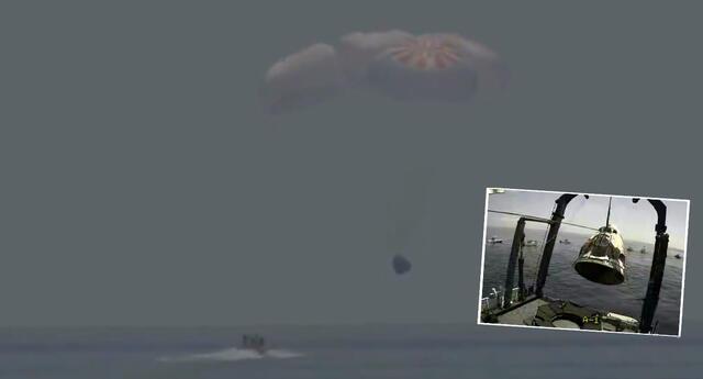 Cápsula Crew Dragon de SpaceX llegó a las aguas del Golfo de México esta tarde.