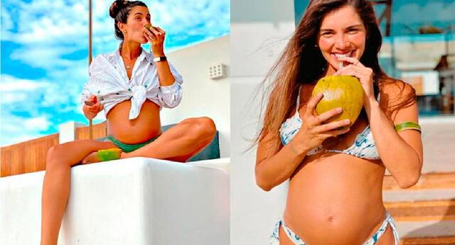 Korina Rivadeneira emocionada por el nacimiento de su bebé.