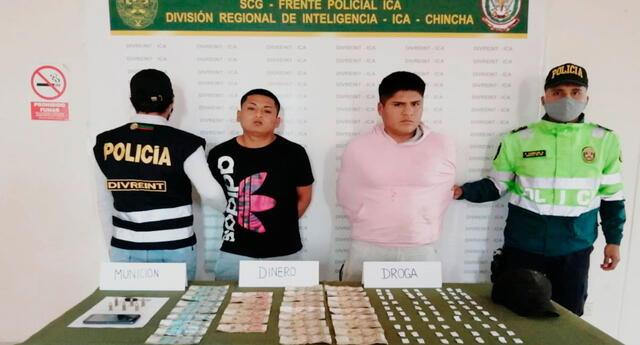 Los detenidos y parte  del dinero recuperado