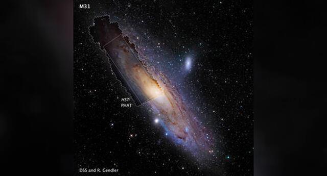 La imagen del mosaico M31 del Hubble, tomada por el programa Panchromatic Hubble Andromeda, se muestra en contexto con una imagen terrestre de toda la galaxia.