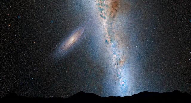 El disco de la galaxia de Andrómeda que se aproxima es notablemente más grande.