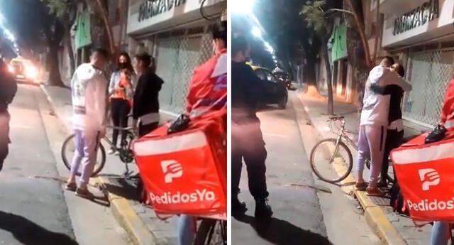 Mujer le regala su bicicleta a un joven repartidor que había sufrido un asalto