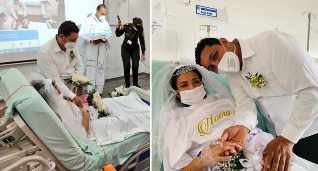La pareja contrajo matrimonio en el Hospital Universitario de Santander.