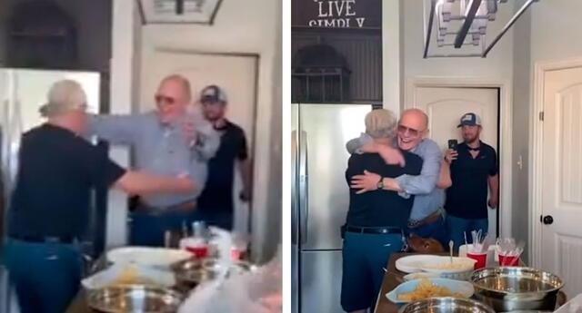 La tierna reacción de un anciano al reencontrarse con su mejor amigo de toda la vida
