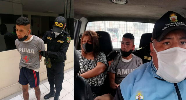 El detenido es trasladado por los serenos a la comisaría