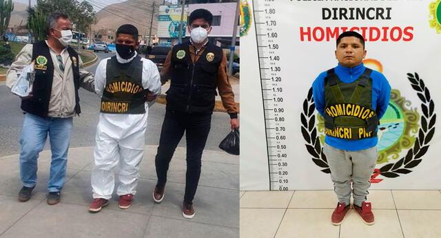 El detenido en plena intervención y en la Dirincri
