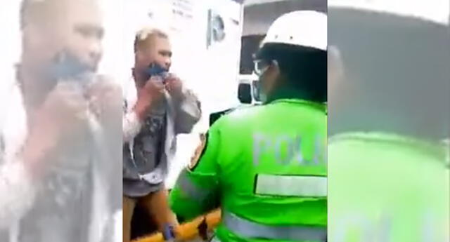 Motocilista golpea a policía en La Victoria.