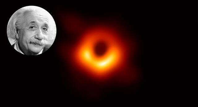 Albert Einstein y la imagen del agujero negro capturada por el Telescopio del Horizonte de Sucesos (EHT).