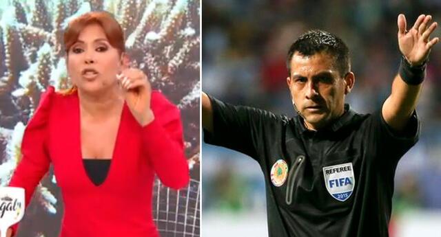 Magaly Medina molesta por el favoritismo del arbitro Julio Bascuñán para Brasil.