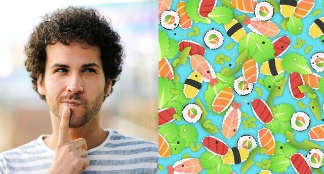 Reto viral: encuentra al gusano escondido en el sushi.