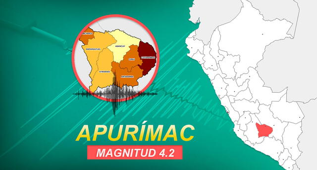 Sismo de 4.2 ocurrió en Apurímac a la 1:38 de la tarde de este domingo en Apurímac, según informó IGP.
