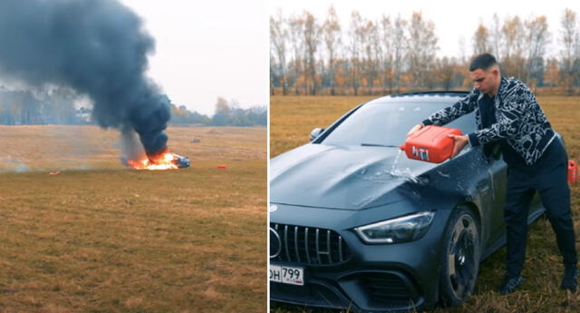 El youtuber ruso tomó la radical decisión de quemar su Mercedes.