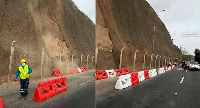 Se desprende piedras y tierra en el acantilado
