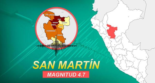 Sismo de magnitud 4.7 remeció la región San Martín a las 5:45 de la mañana de este domingo 8 de noviembre, según reportó IGP.