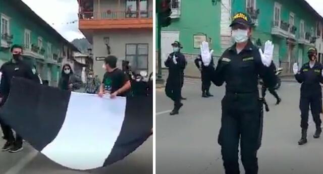 Policías usan guantes blancos como símbolo de paz.