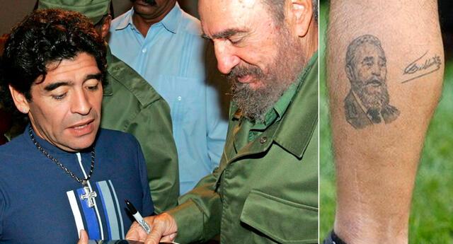 Maradona se tatuó el rostro de Fidel Castro en su pierna izquierda, como signo de profunda admiración.
