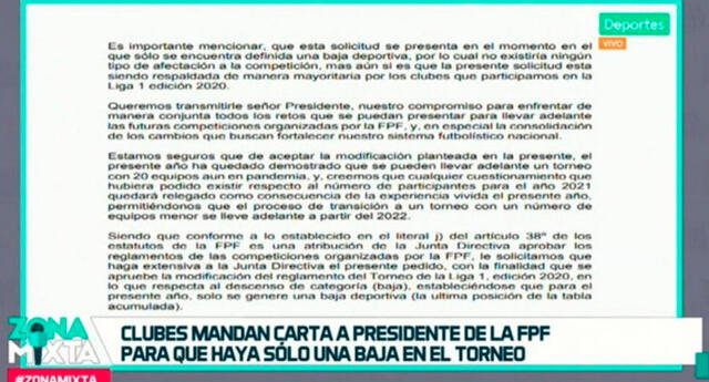 El documento fue expuesto por el programa Zona Mixta que va dirigida al presidente de FPF, Agustín Lozano.
