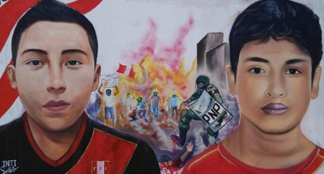 Desalmados borraron otro mural en honor a Bryan Pintado e Inti Sotelo, víctimas de la represión policial.