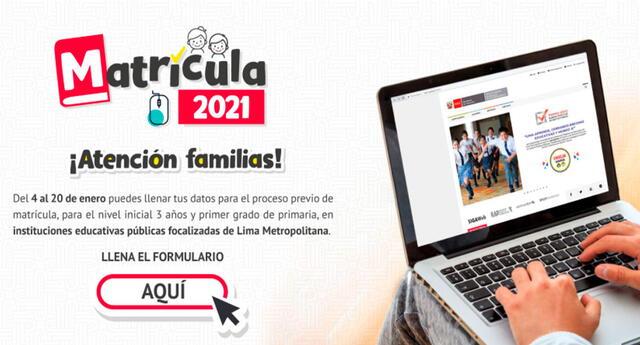Matrícula 2021: ver lista de colegios públicos de Lima Metropolitana con vacantes disponibles para Inicial y Primaria para inscripción virtual