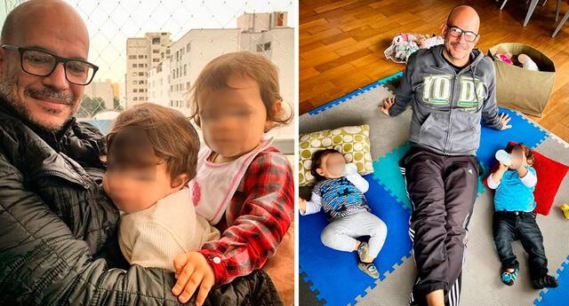 El productor Ricardo Morán mostró su emoción al llegar a Lima después de unas semanas alejado de sus pequeños Catalina y Emiliano.