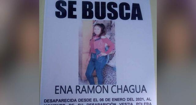 Ena Chaugua Ramón fue reportada como desaparecida desde el 8 de enero.