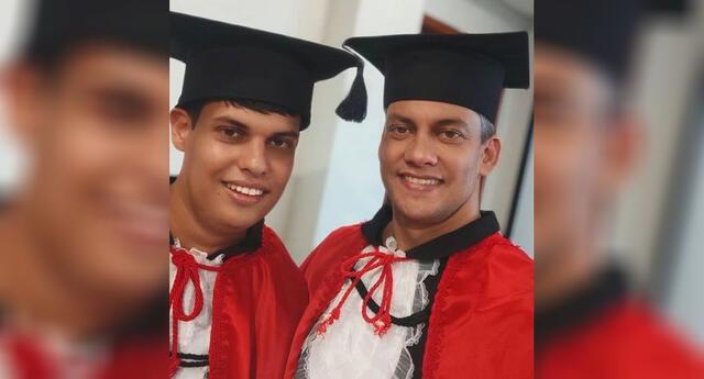 Lucas Weberling y su padre Luis Felipe Soares en hermoso retrato de graduación.