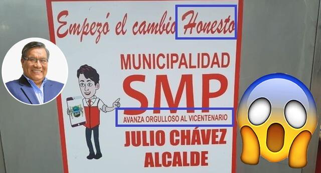 Vecinos y emolienteros denunciaron este error en la publicidad del municipio de San Martín de Porres.