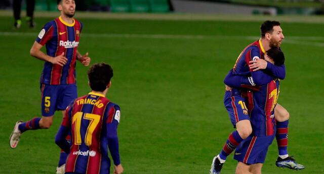 Festejo  por el gol de Messi que significó el empate transitorio 1-1  con Betis.