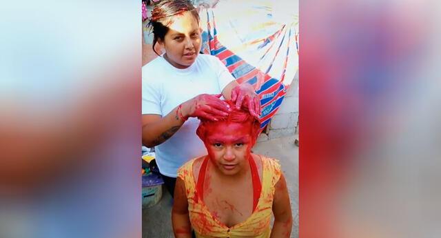 Joven le pinta el cabello a su hermana y el video se vuelve viral