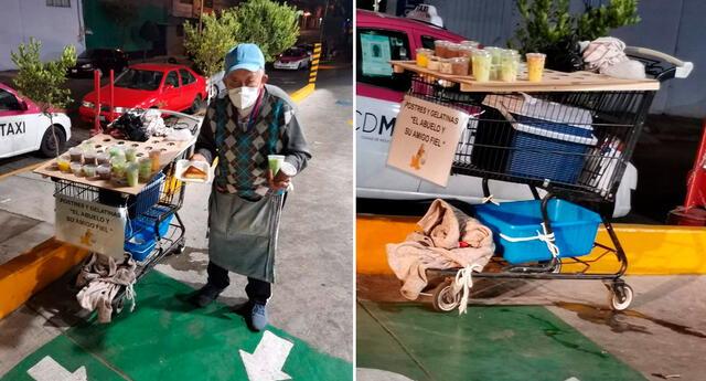 El anciano se gana la vida vendiendo gelatinas para apoyar en la operación de su nieto.