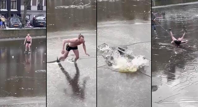 Peculiar video del patinador se viralizó en las redes sociales.