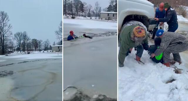 Los familiares de la joven hacen lo indecible para sacar al niño atrapado debajo de la capa de hielo.