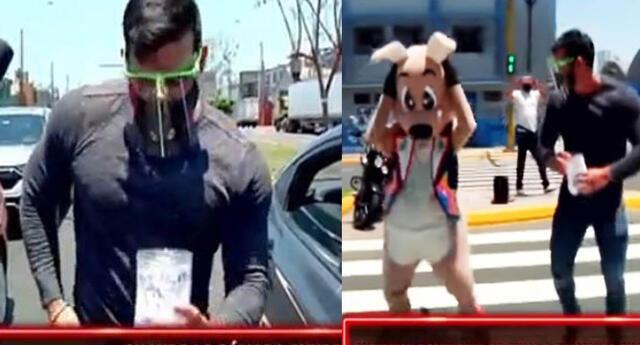 Christian Domínguez ayuda a artista 'Canguro' bailando en la calle para recaudar dinero.