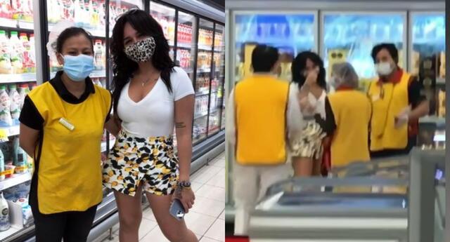 La cantante Daniela Darcourt protagonizó una sesión de fotos con trabajadores de un conocido supermercado al acudir a hacer sus compras.