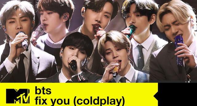 BTS sorprendió a su Army al realizar un cover acústico del tema de Coldplay anoche en su presentación para MTV.