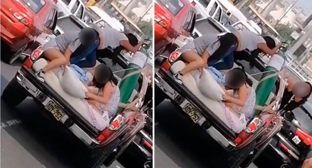 familia traslada a paciente con coronavirus en tolva de camioneta