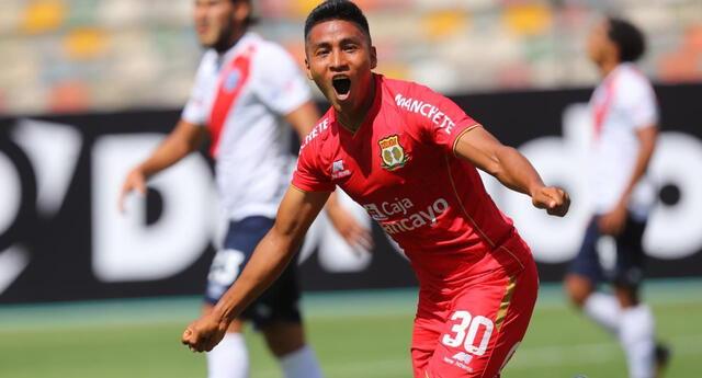 Rojas celebra efusivamente su gol  y que al final sello la victoria de Huancayo 1-0 ante Municipal.