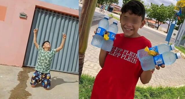 Historia del menor que vendía botellas de agua se hizo viral en las redes sociales.
