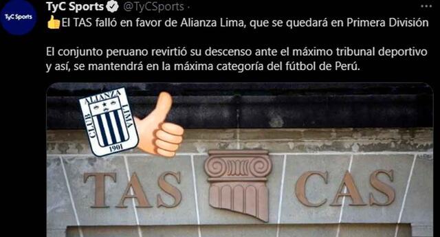 Medios deportivos de todo el mundo informan sobre el fallo a favor del TAS con Alianza Lima.