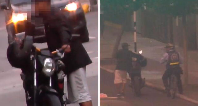 Simulando que la moto era de su propiedad, el joven ladrón logró liberar el seguro del vehículo y emprendió la huida empujándolo por varias cuadras.