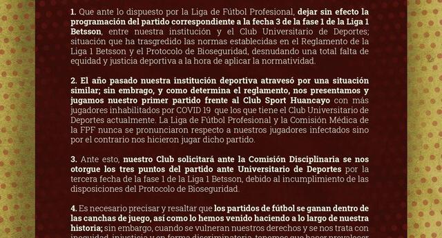 UTC pide puntos del partido  suspendido con Universitario.