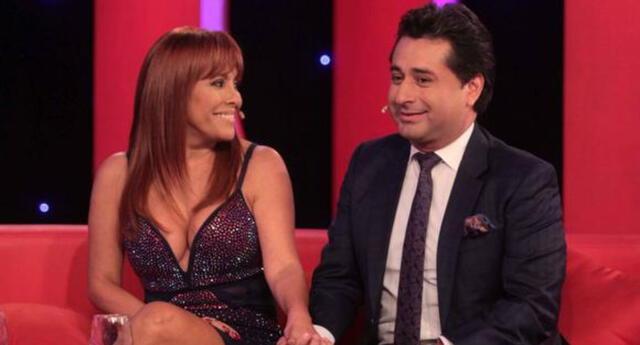 Magaly Medina y Alfredo Zambrano se lucieron como pareja por primera vez en una entrevista que realizó Karen Schwarz en su programa de Latina.