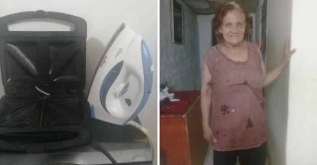Mirza Paz estaba ofreciendo su plancha de ropa y su tostador de pan para poder comprar comida.