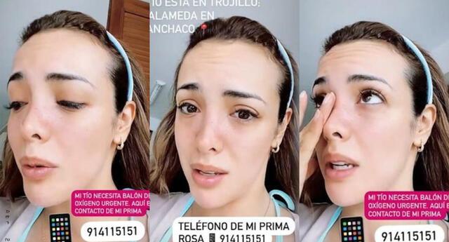 La modelo Rosángela Espinoza se quebró al pedir ayuda para su familiar que vive en Trujillo, y entre lágrimas, dejó el número para poder apoyarla.