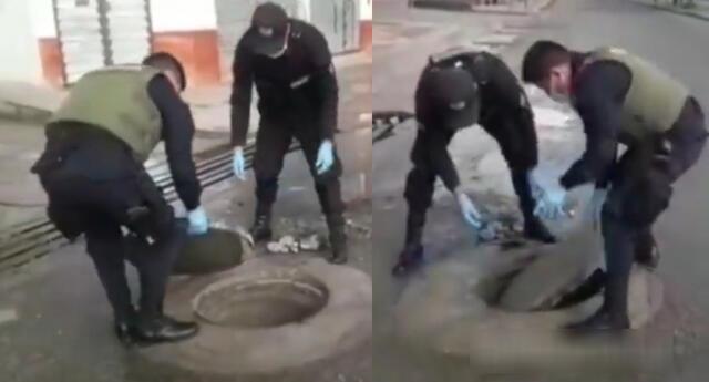 Peculiar video de los policías se viralizó en las redes sociales.