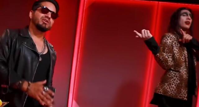 Gaona y 'Marilyn Manson' antes de su presentación. Foto: captura Latina
