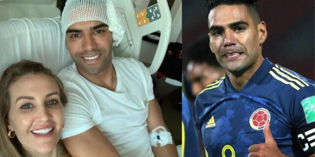 Radamel Falcao feliz con su esposa tras operación.
