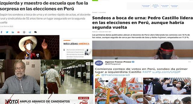 Medios internacionales reaccionan ante el sorpresivo primer lugar de Pedro Castillo.